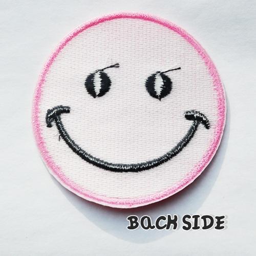 画像3: SALE★丸目 大きめ!まんまるお目め♪ピンクにこちゃんワッペン スマイル SMILE ワッペン
