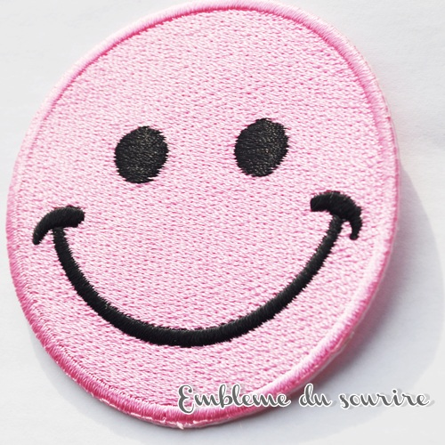 画像1: SALE★丸目 大きめ!まんまるお目め♪ピンクにこちゃんワッペン スマイル SMILE ワッペン